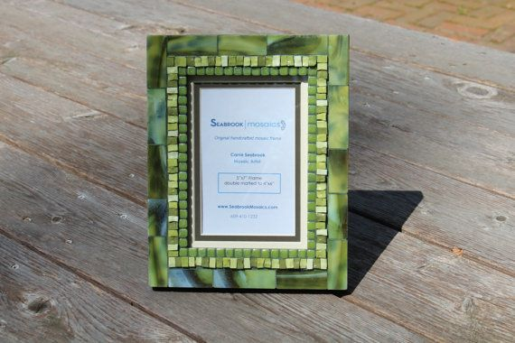 Olive Green Mosaic Picture Frame By Seabrookmosaics On Etsy