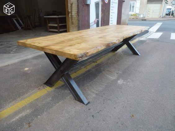 table de salle à manger fer bois écorce brut 3 m | maison
