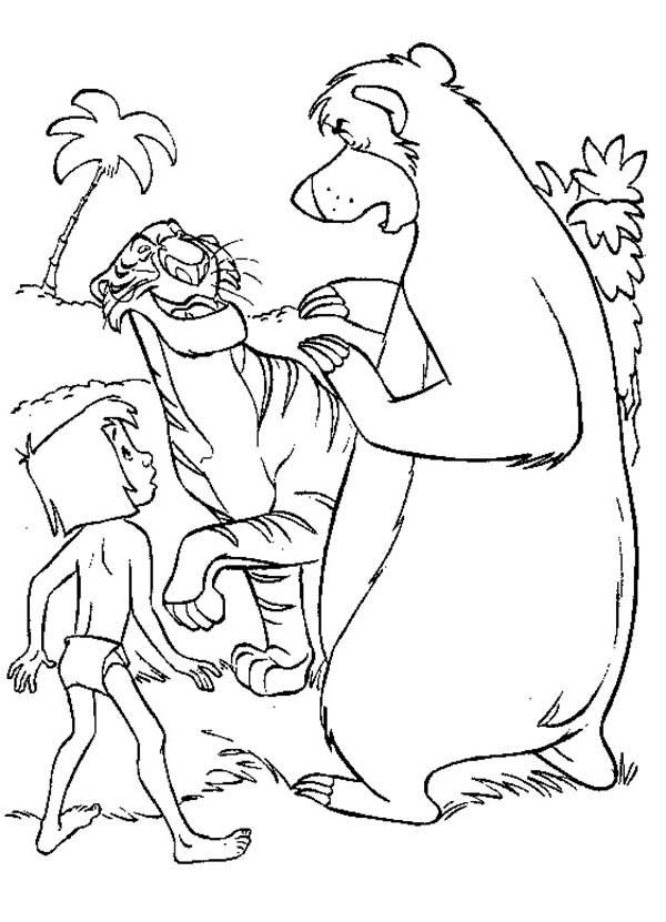 The Jungle Book Baloo And Mowgli Meet Shere Khan In The Jungle Book Coloring Page Coloring Books Animal Coloring Books Cartoon Coloring Pages