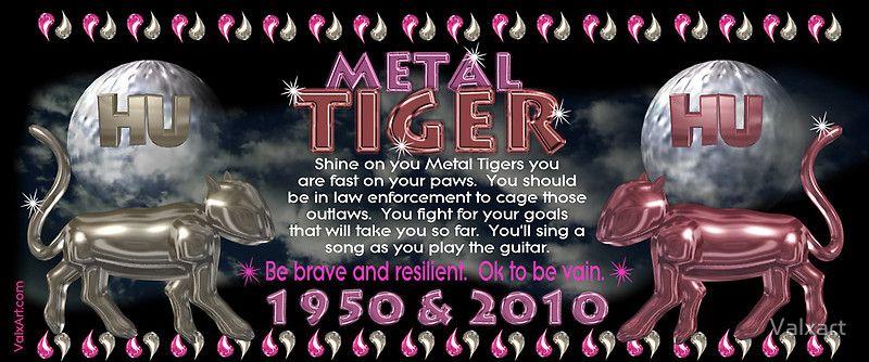 metal tiger 1950 & 2010 2010 chinese zodiac, Zodiac