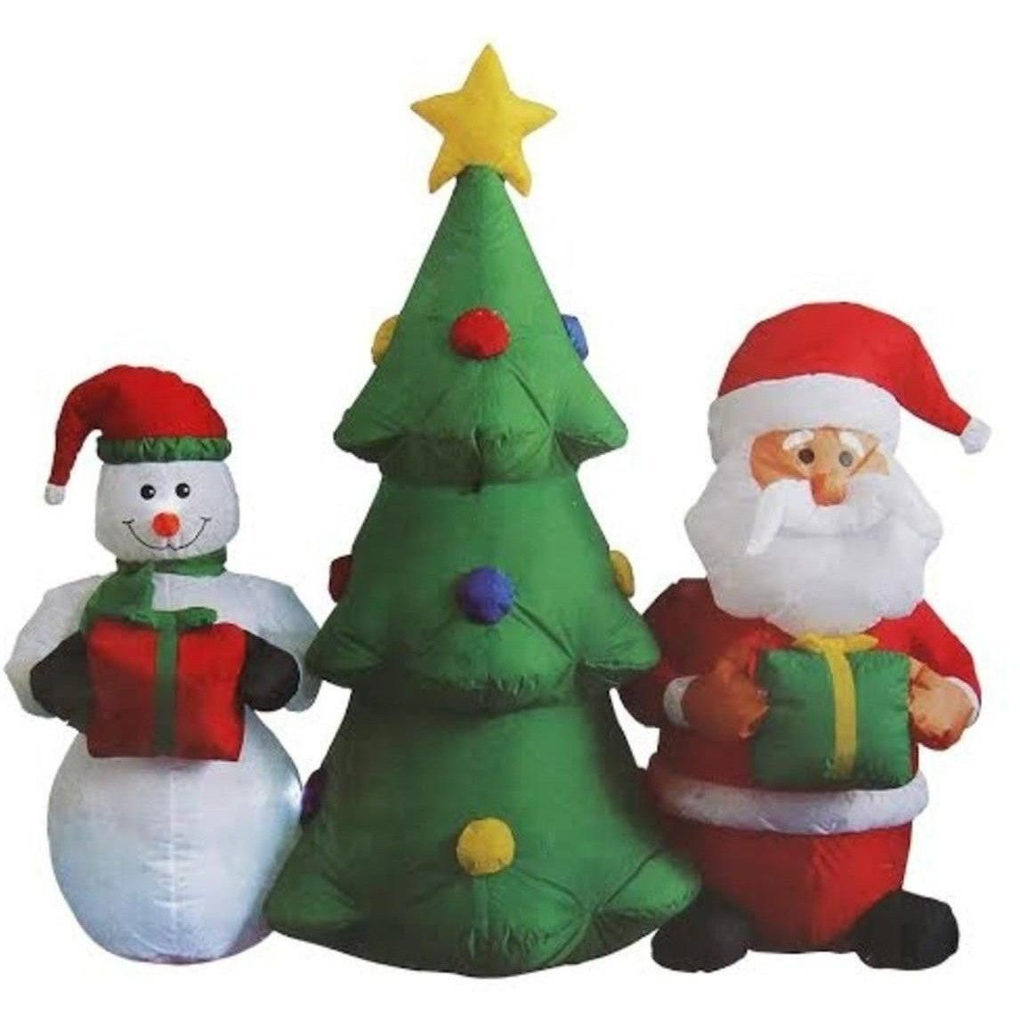 BZB 5u0027 Inflatable Tree, Santa And Snowman Lit Christmas Yard Décor