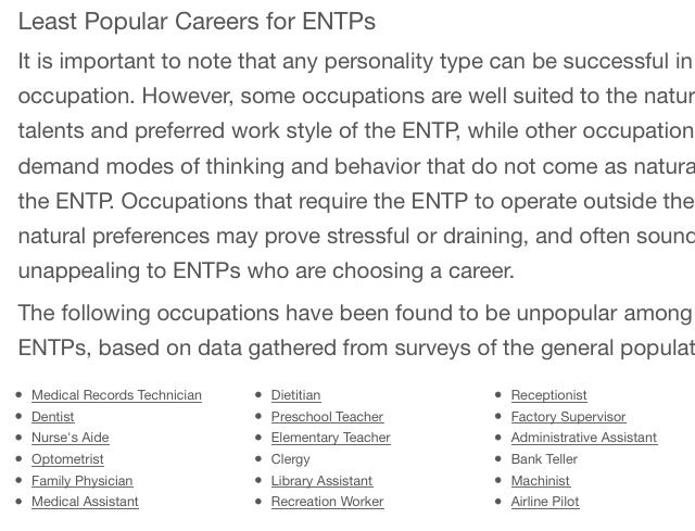 Least Popular career choices  LOL, I've done 6 of these