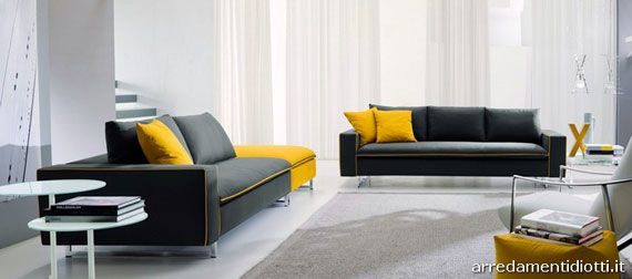 Modern Living room with Yellow accents