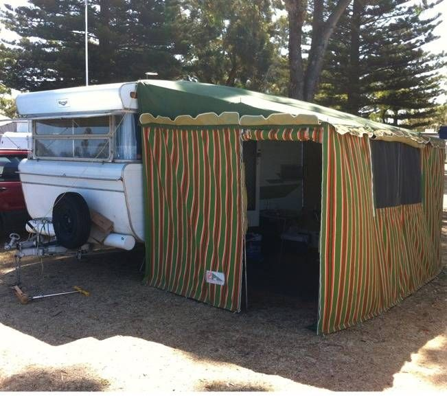 Vintage Viscount Caravan With Cool Old Stripe Annexe With Images