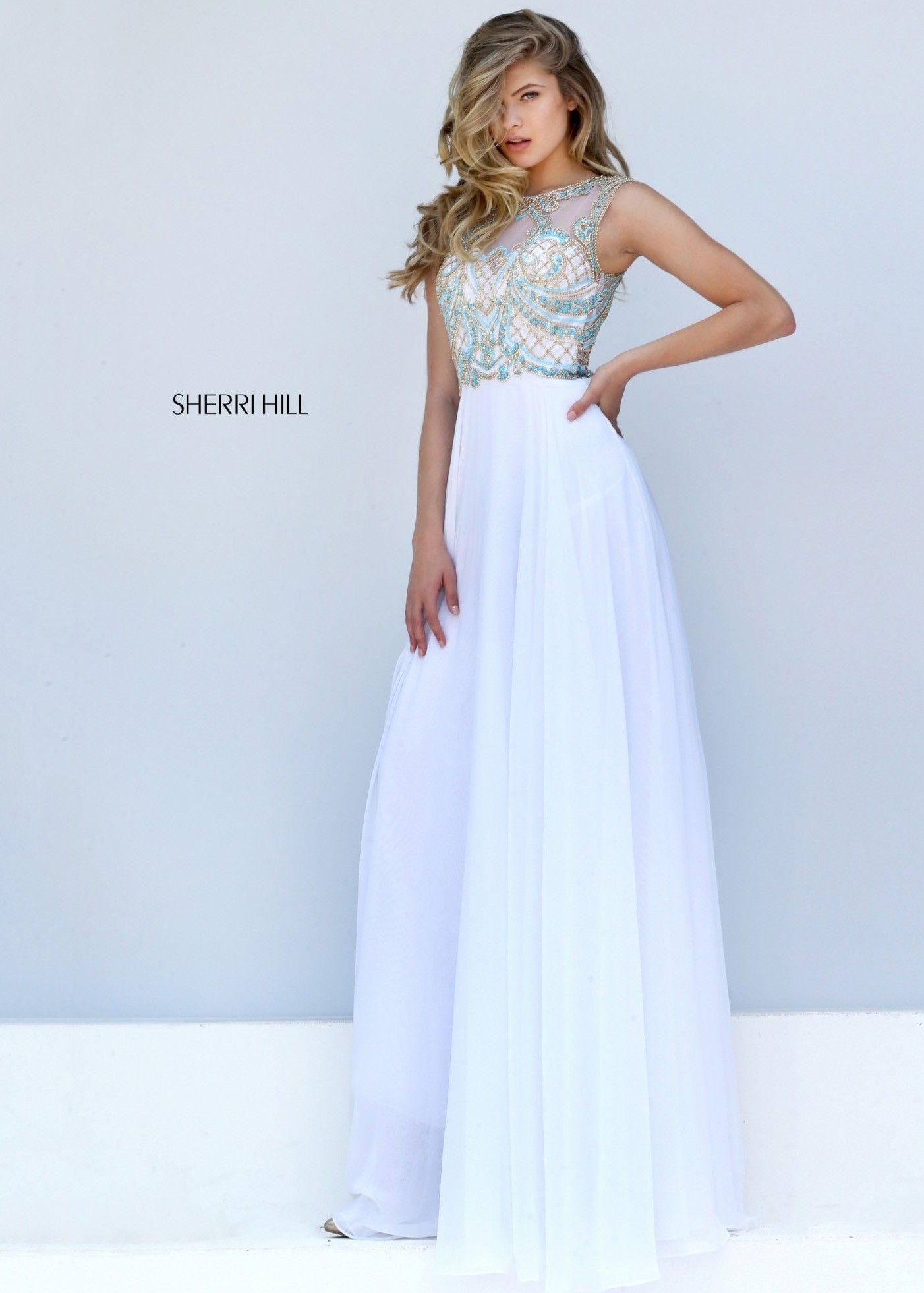 Sherri Hill 12 Ivory/Turquoise Vibrantly Beaded Chiffon Evening