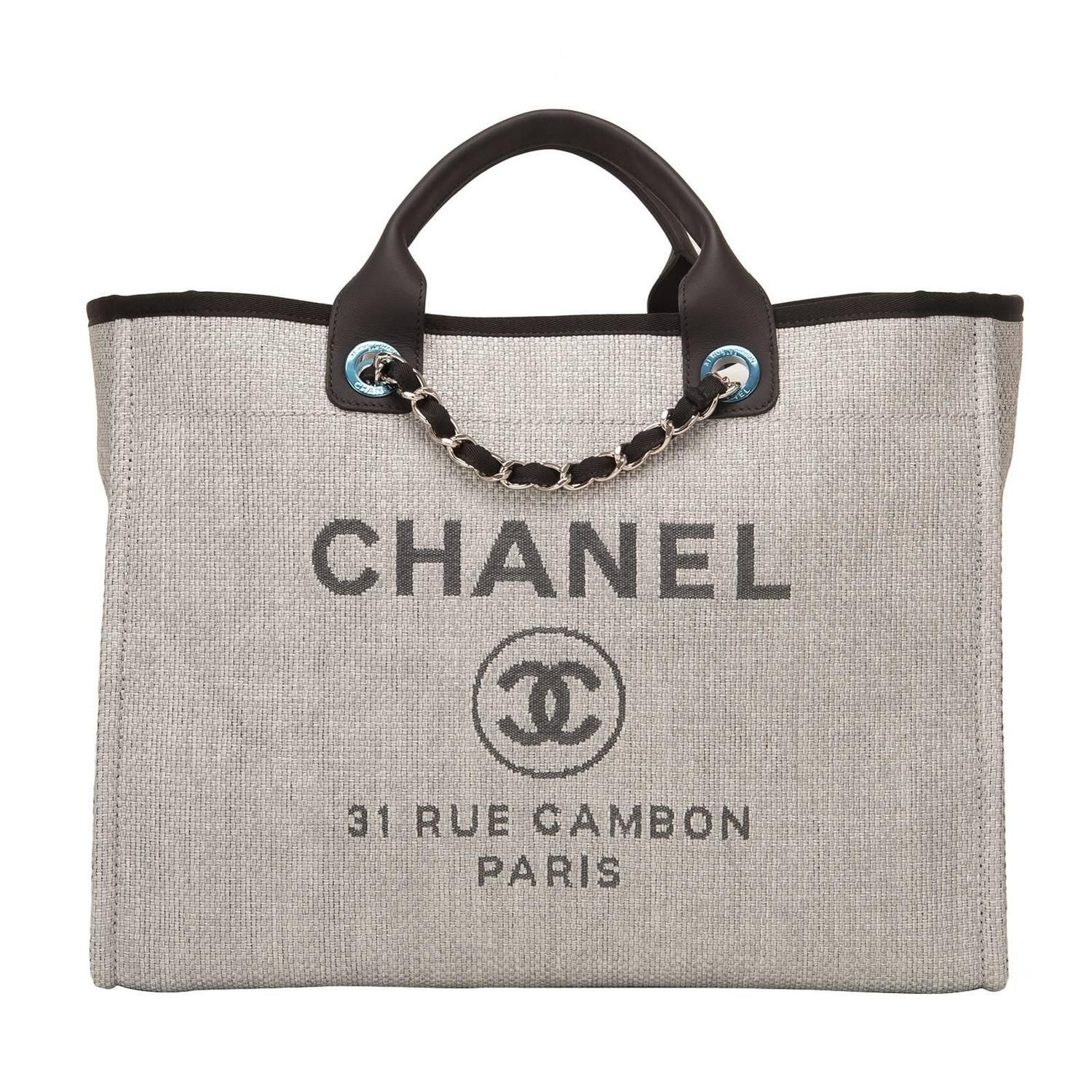 Chanel Grey Canvas Large Deauville Shopping Bag | Shopping bags ...