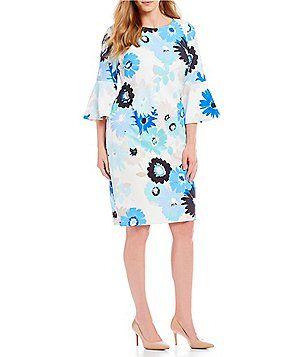 d5c9f80a37c Calvin Klein Plus Size Floral Print Bell Sleeve Sheath Dress