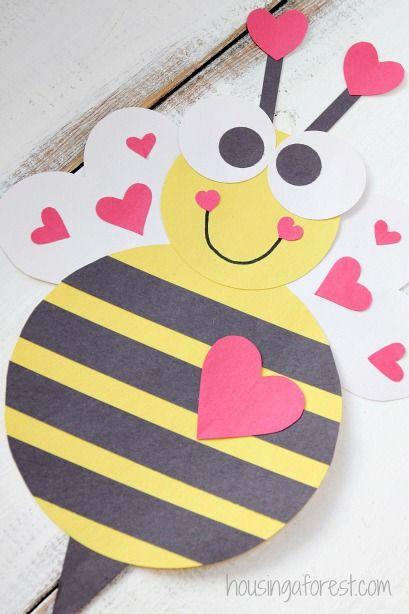 Heart Bee ~ Cute Valentine Craft for Kids Crafts Pinterest - valentine craftf