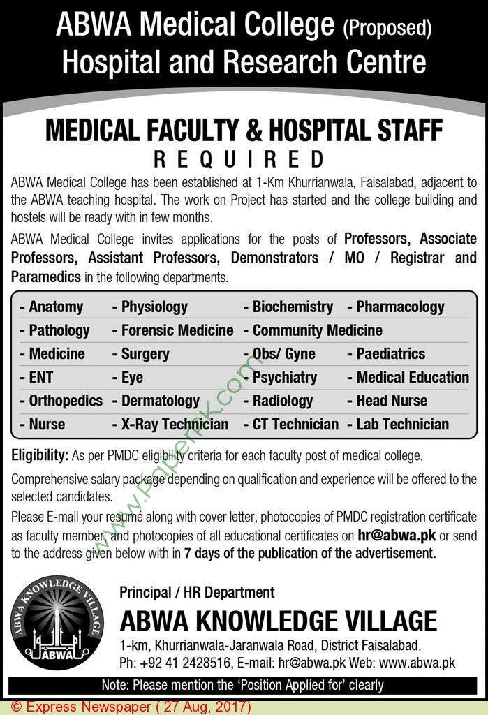 Abwa Knowledge Village Faisalabad Jobs  Jobs In Pakistan