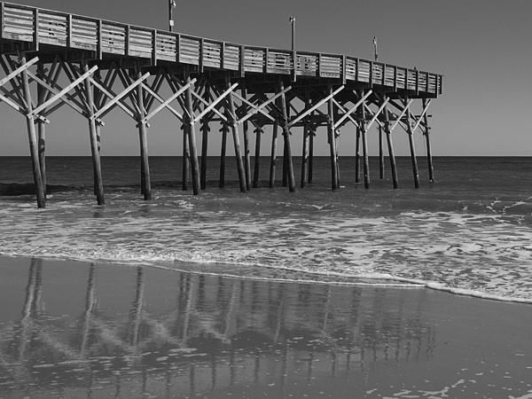 Myrtle Beach Pier In Black And White By Mm Anderson