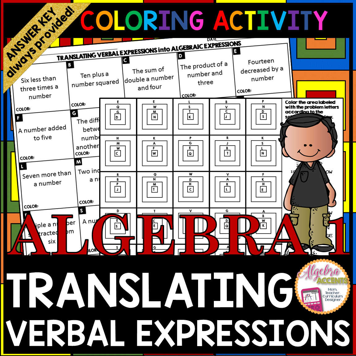 Translating Algebraic Expressions Granny Squares Coloring