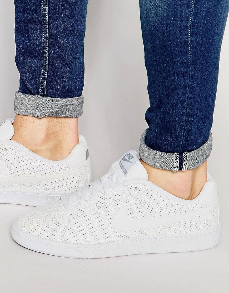 Shoes Outlet - Nike Court Royale Prem Leather White Mens Trainers