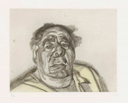 LUCIAN FREUD (1922-2011) | Lord Goodman in his yellow Pyjamas | 1980s, Prints & Multiples | Christie's