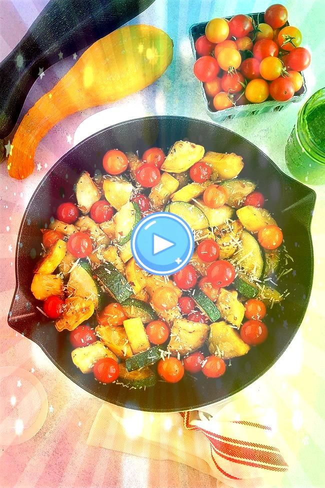 Squash Sauté with tomatoes Parmesan cheese and basil vinaigrette The perfect simple summer side dishSummer Squash Sauté with tomatoes Parmesan cheese and ba...