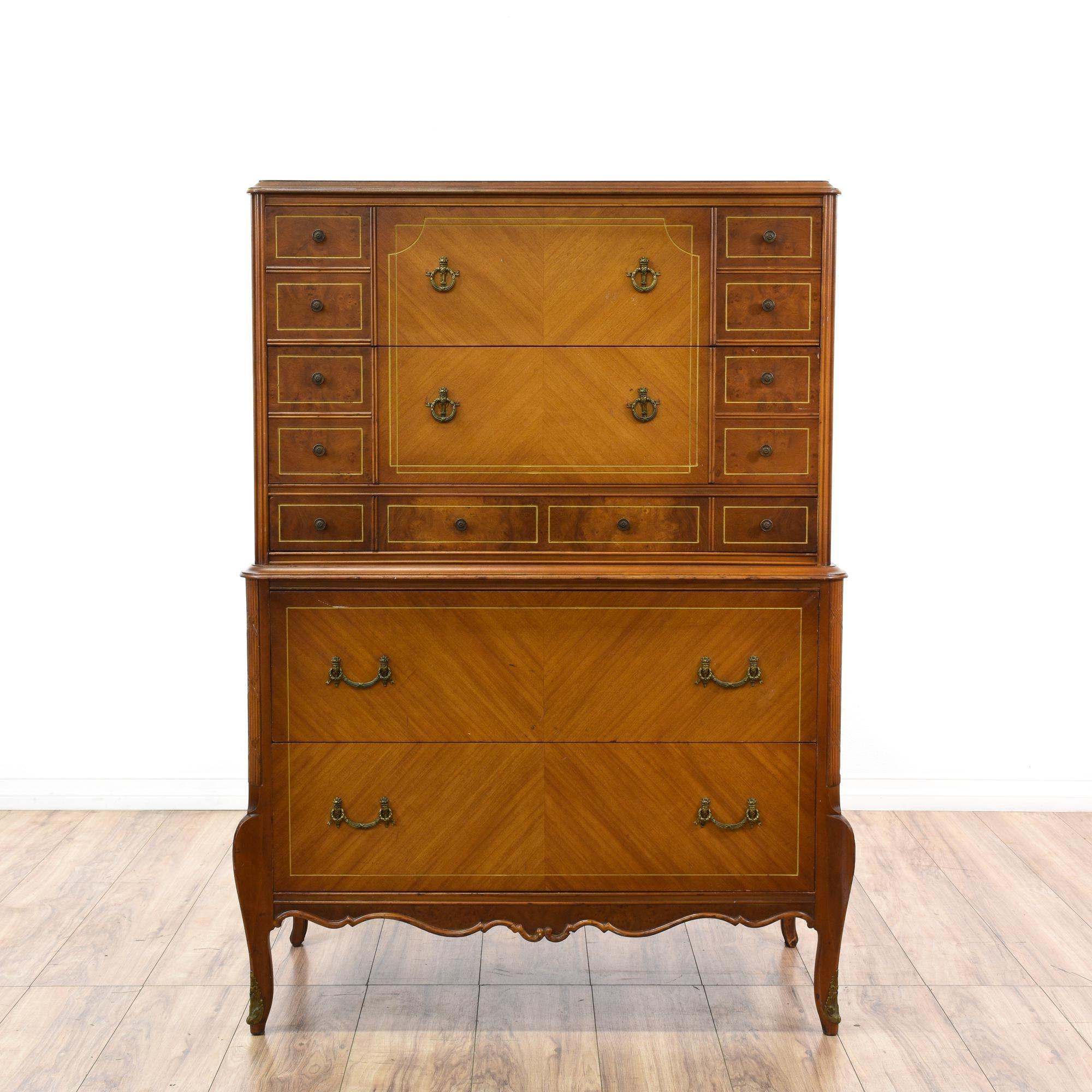 Carved Cherry Burl Wood Highboy Dresser