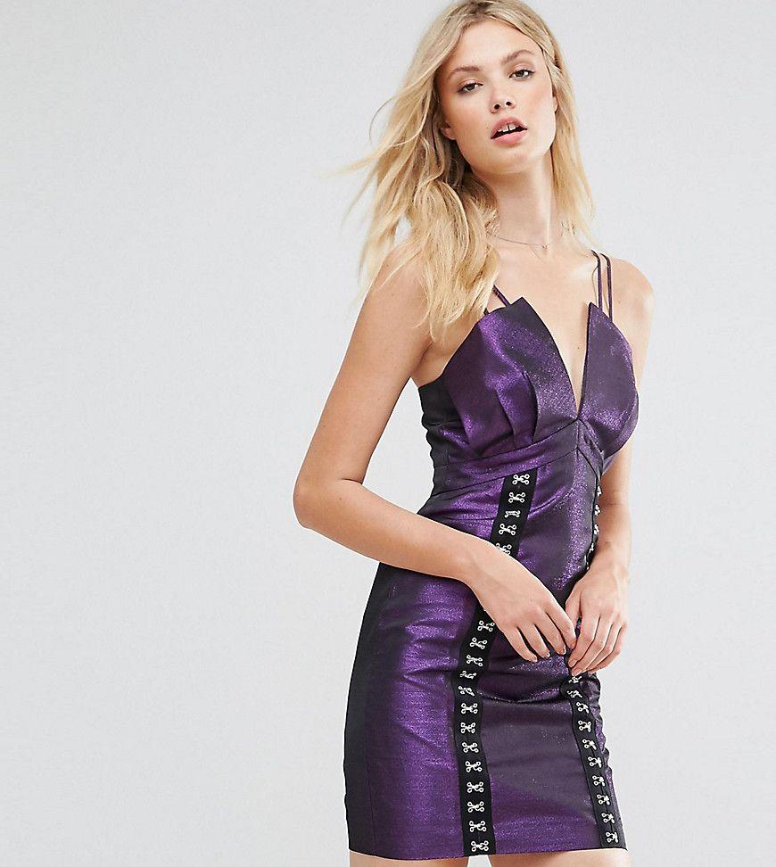 Asos tall us mini metallic hook u eye dress purple products