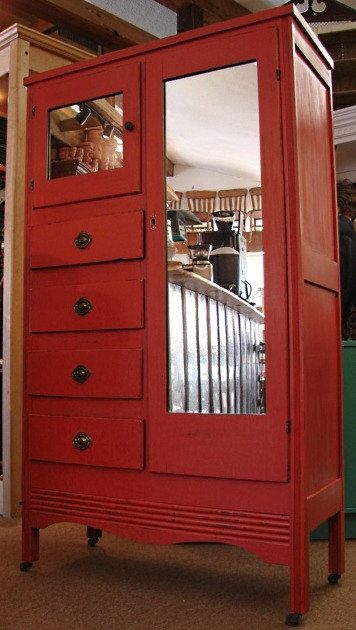Vintage Distressed Red Painted Country Chest Of Drawers Wardrobe Armoire