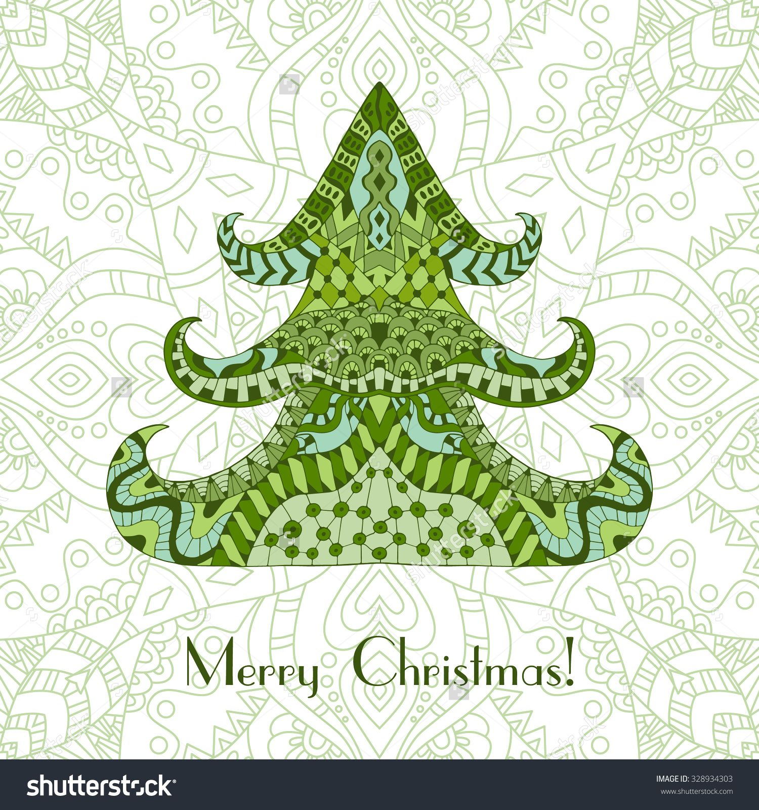 Color Christmas Tree. Christmas Card In Zentangle Style For Adult ...
