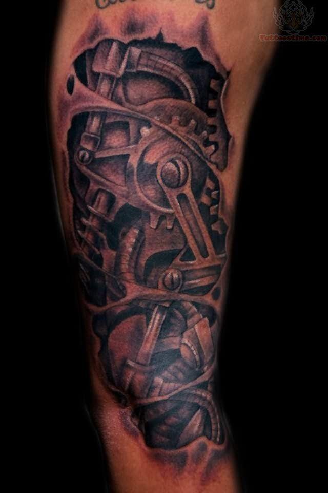 Mechanical Car Parts Tattoo | Biomechanical tattoo design ...