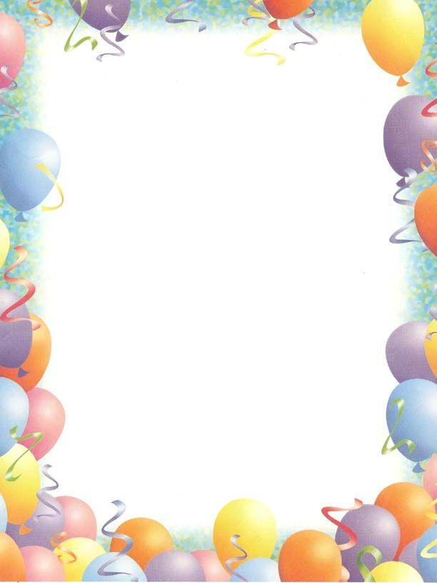 Nice Balloon Border Template Free Images Gallery >> Free Birthday ...