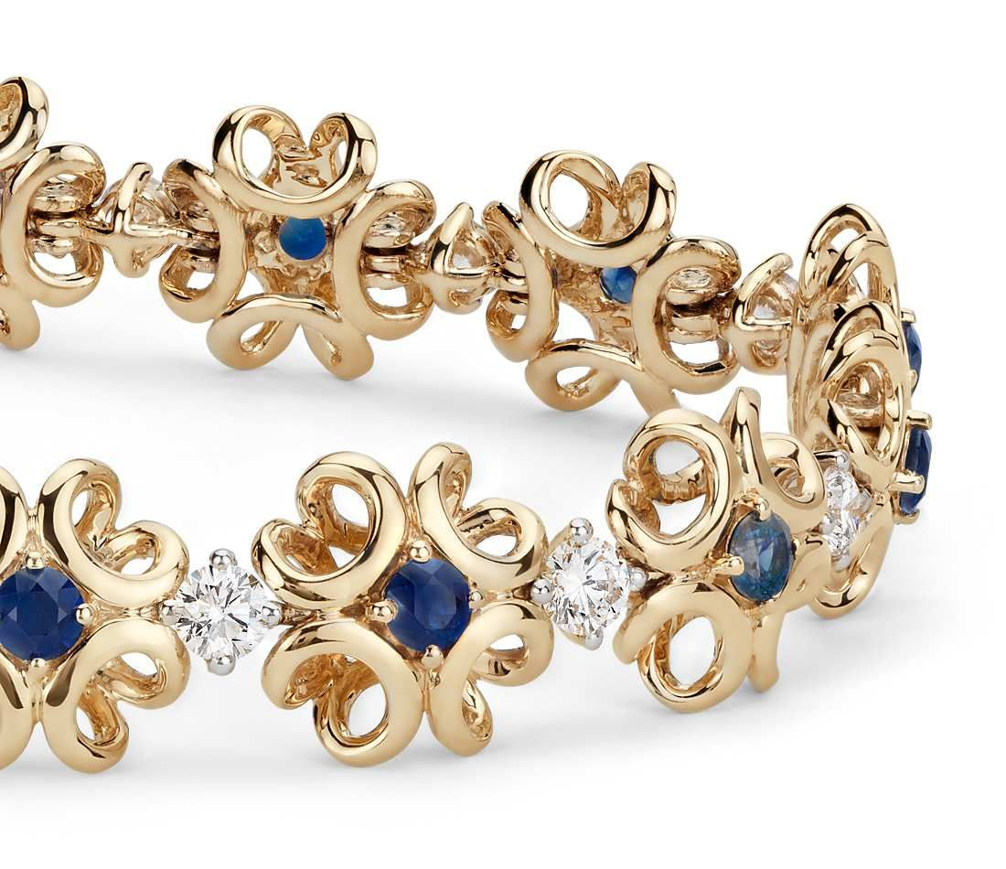 Colin cowie sapphire and diamond bracelet in k yellow gold mm