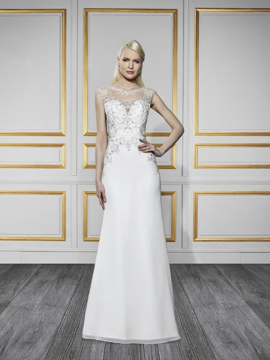 Wedding Dresses, Bridesmaid Dresses, Prom Dresses and Bridal Dresses Moonlight Tango Wedding Dresses - Style T730 [T730] - Moonlight Tango Wedding Dresses, Spring 2016. This glamorous, chiffon trumpet wedding gown features a silver embroidered bateau neckline. The illusion back is accented with embroidery and buttons.