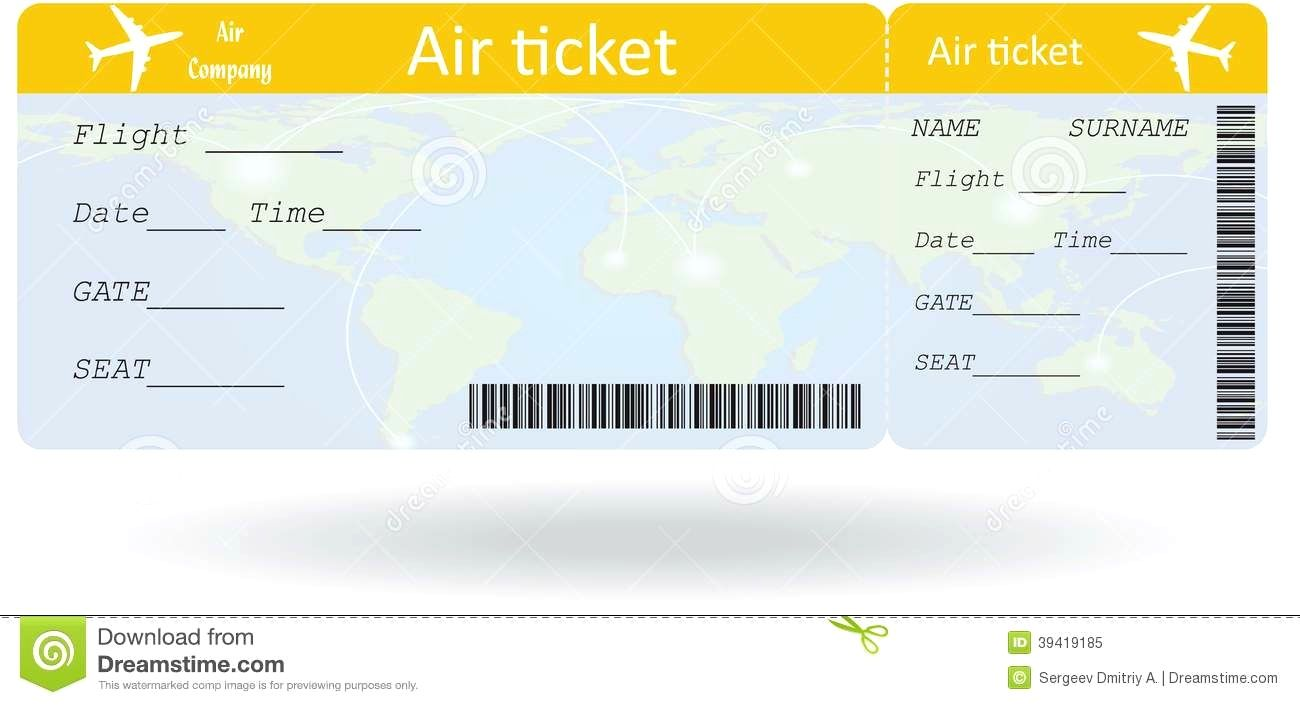 Airline Ticket Templates Template  Free Word Excel Pdf Variant