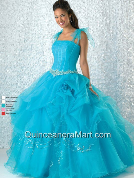 Baby Blue Straps Appliques Decorate Quinceanera Dress for Discount