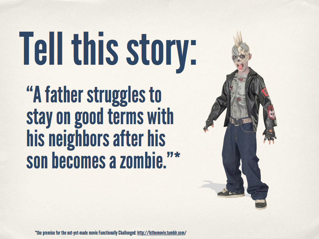 Zombie son prompt would suit a yr 9 or 10 boys class especially.    The quote for this one is the premise for the not-yet-made movie Functionally Challenged.