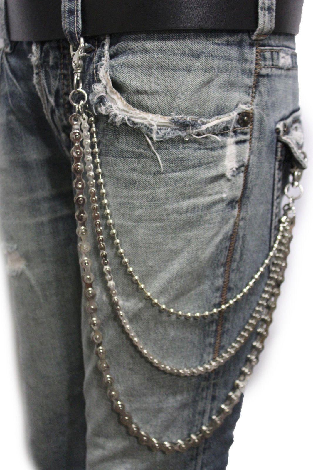New Men Silver Metal Chains Keychain Black Wallet Biker Jeans Trucker Motorcycle