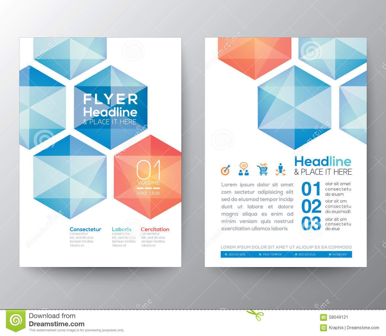 abstract hexagon poster brochure flyer design template layout