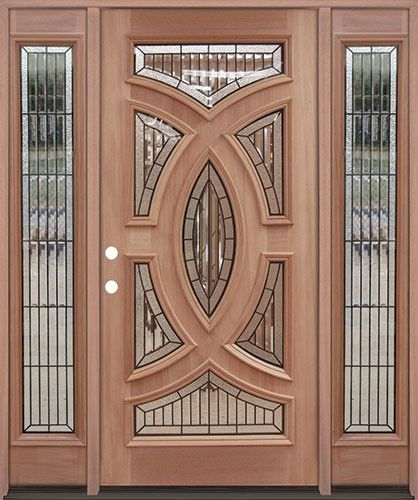 best authentic 9e6e8 a4df5 Premium Decorative Glass Mahogany Prehung Wood Exterior Door ...