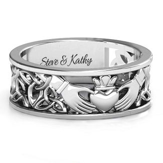 Men S Celtic Claddagh Band Ring Claddagh Band Rings And Ring