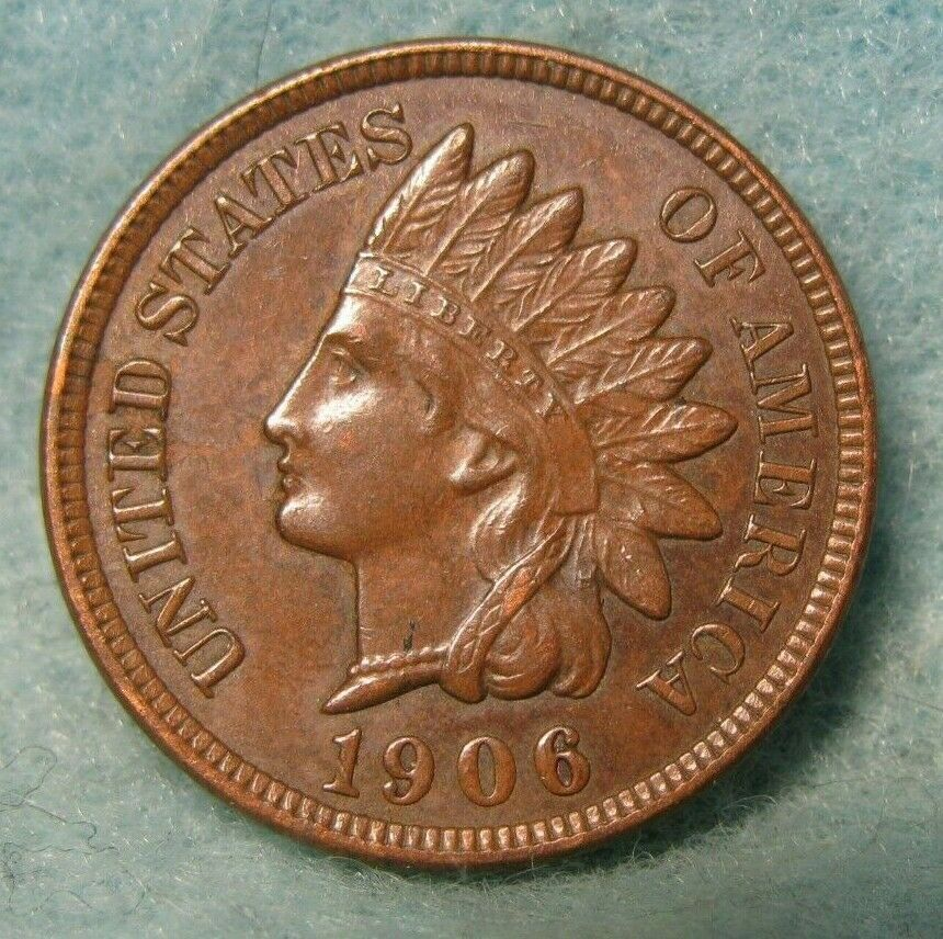 1906 INDIAN HEAD PENNY CH AU-UNCIRCULATED LIBERTY & 4