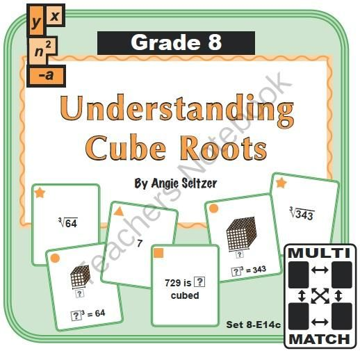 Multi-Match Cards: Understanding Cube Roots (CCSS 8.EE.2) from K-8 MathPaths on TeachersNotebook.com -  (9 pages)  - This set of printable Multi-Ma…