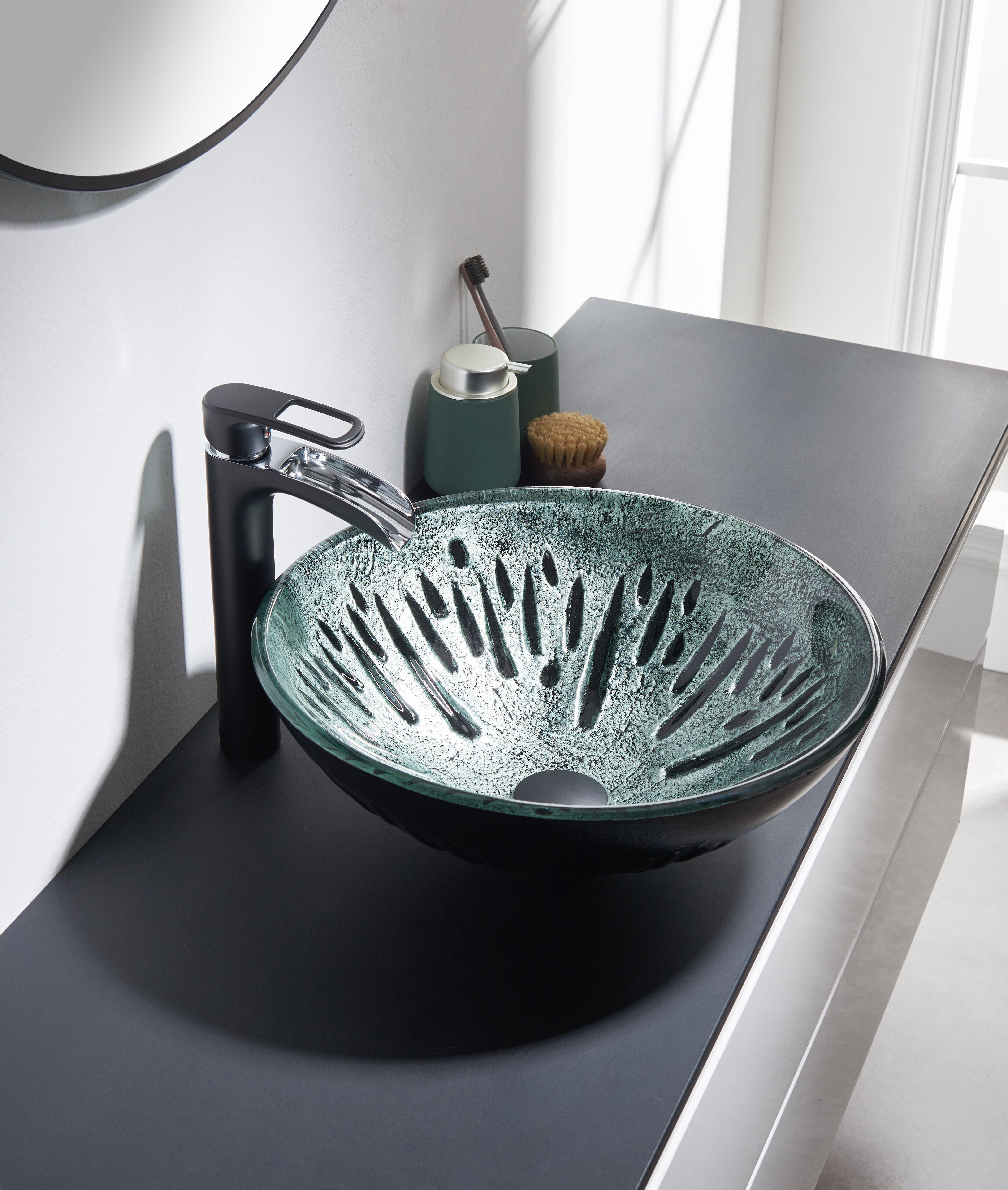 Dark Green Glass Handmade Circular Vessel Bathroom Sink In 2020 Sink Glass Vessel Sinks Green Glass