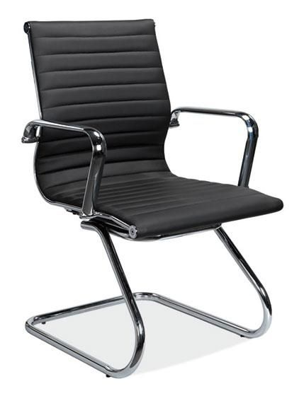 Office Source Nova Sled Base Guest Chair Black Or White Leather