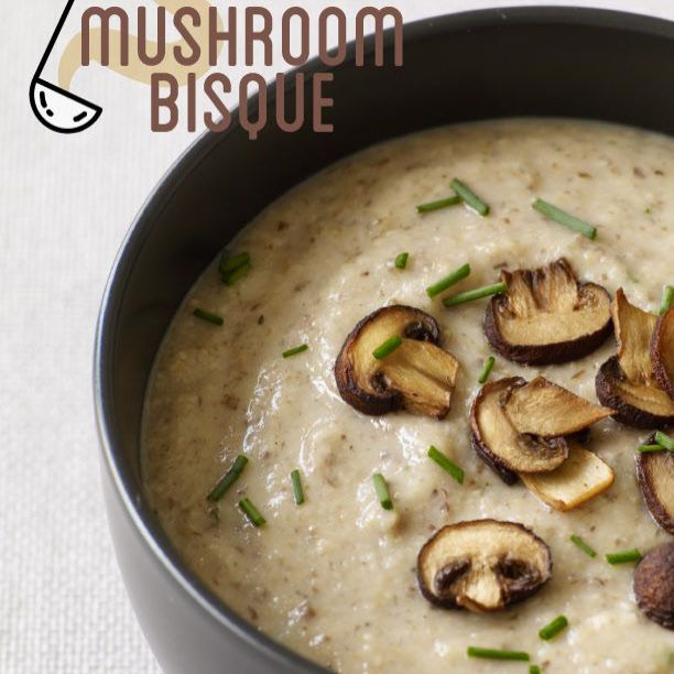 Mushroom Bisque ----------   Greek yogurt thickens this light, creamy mushroom soup and gives it a refreshing tang. Roasting the mushrooms adds deep, rich flavor.