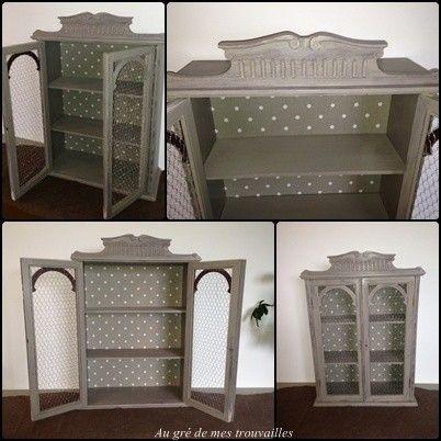 renovation d une armoire avec peinture liberon et grillage poule tissus pois beige et