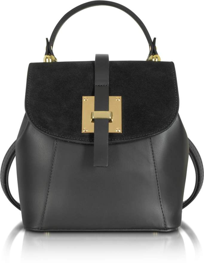 6e442d0cda39f Le Parmentier Palazia Black Suede and Leather Small Backpack ...