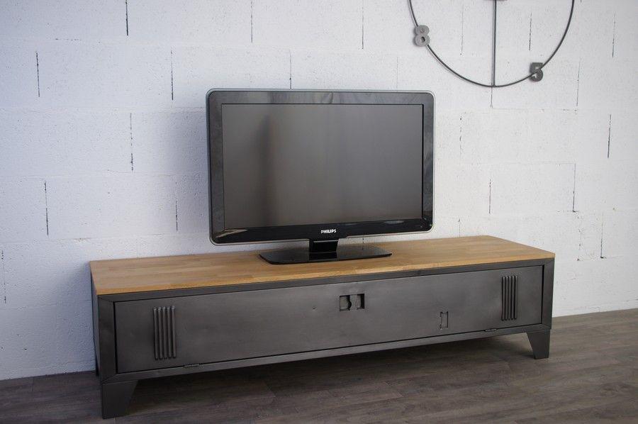 Meuble t l tv industriel avec ancien vestiaire d cap et teint anthracite plateau ch ne - Restauration meuble industriel ...