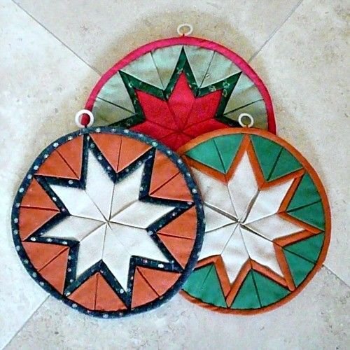 MULTI-LAYER 'Star' Pattern Hand-Quilted Pot Holders, Colorful ... : quilted potholder pattern - Adamdwight.com