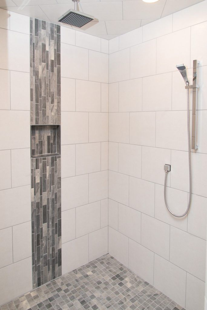 White Tiled Shower Warm Grey Accent Showers