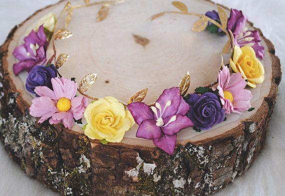 THE *LIMITED* REIGN flower crown, gold leaf flower crown, purple flower crown…