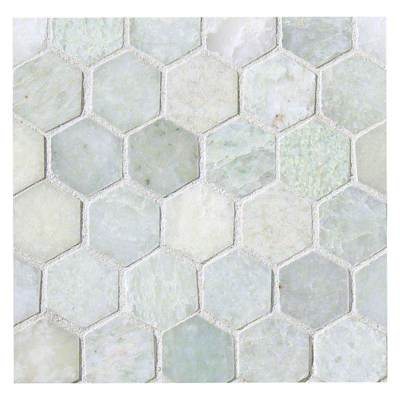 Hexagon 1 Mosaic Tile Polished Ming Green Marble Shower Floor Tile Hexagon Stone Stone Mosaic Tile