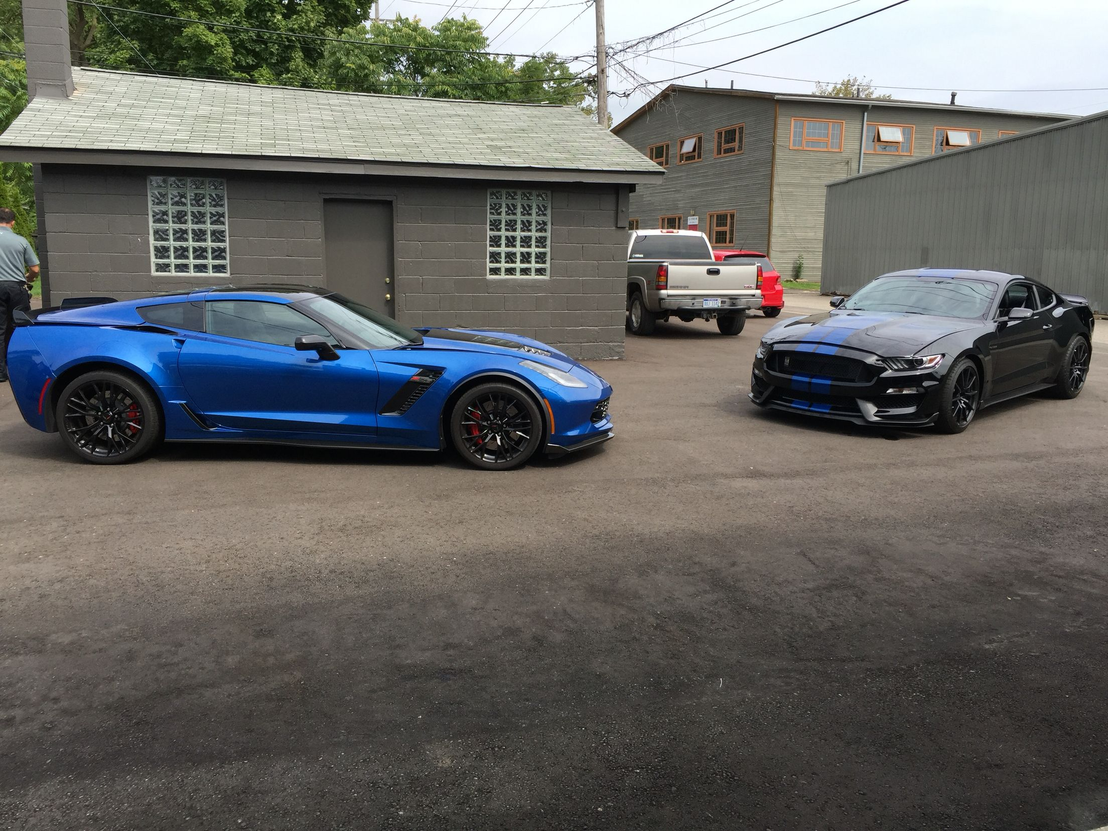Power House Line Up Corvette Z06 And Mustang Shelby Gt350