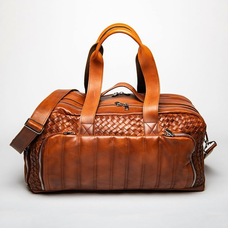 Woven Leather Travel Duffle Bag  Serena Brown