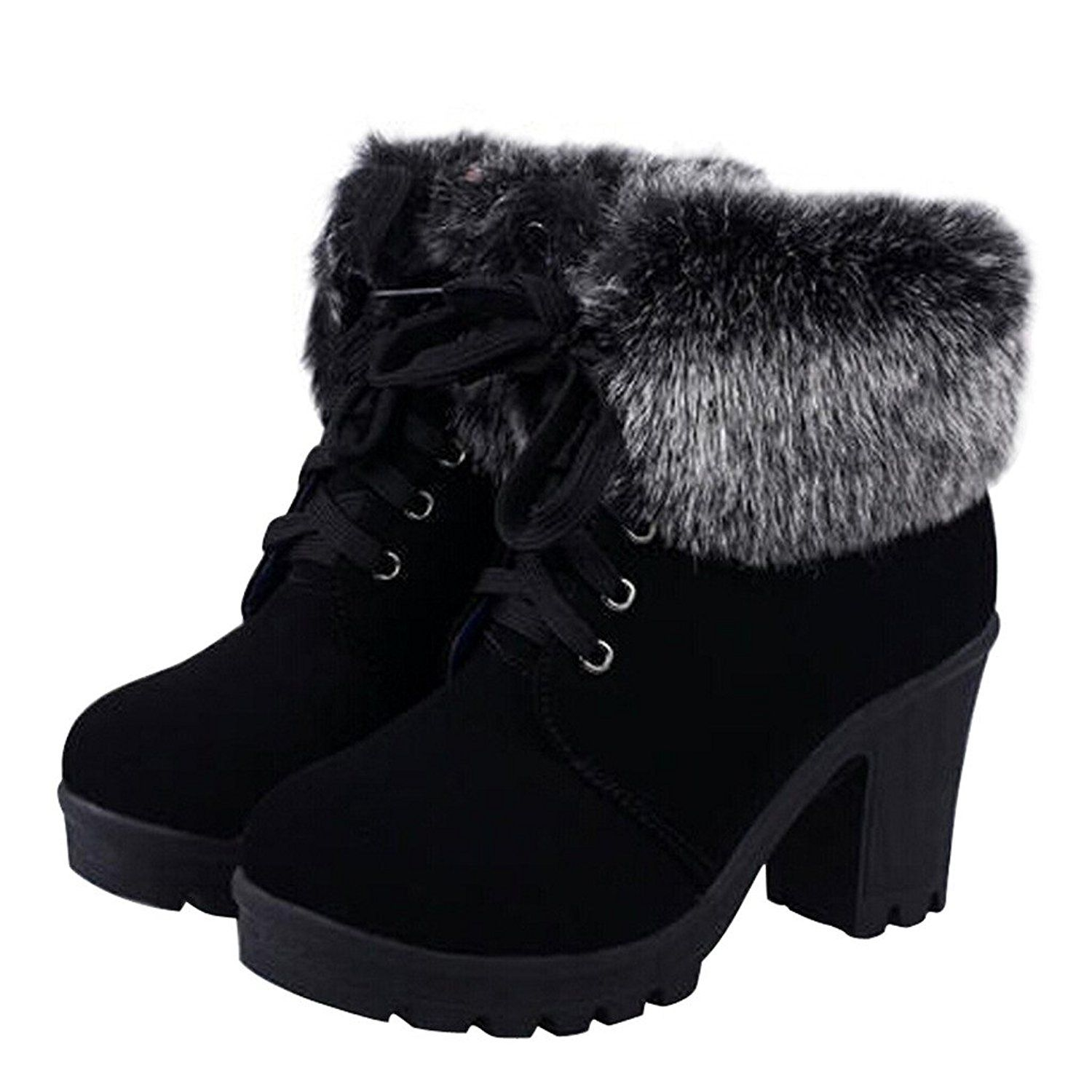 46dff8d00ad72 Dear Time Women Faux Fur Lace-up High Heels Ankle Boots ** This is ...