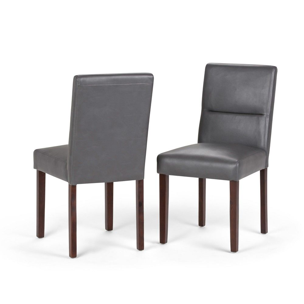 Set Of 2 Seymour Parson Dining Chair Faux Leather Stone Gray