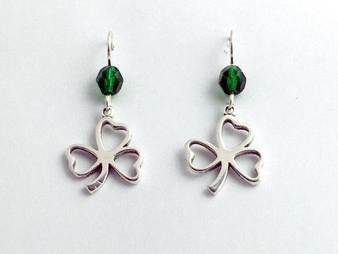 Sterling Silver open Shamrock dangle Earrings-Irish-St. Patrick, emera – Jewelia Designs